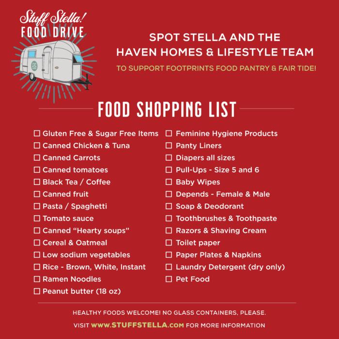Stuff Stella Donation Shopping List